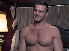 This muscular dude gets tied up by another man. Landon gets his nipples pinched and ass fingered. Then he also gets his dick sucked by the guy.