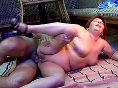 Redhead slut hoe with huge ass and tits gets that hard cock deep in her pierced vagina, that nasty fucker loves to bang horny mature hoes.
