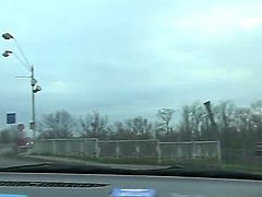 Black haired amateur Natali Blue with french manicure and hot body in tight jeans drives car on a lazy afternoon and gives head to her lover while he films everything in pov.