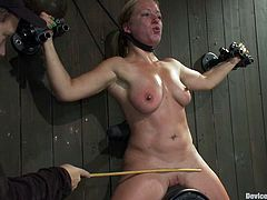 Ariel X and Dia Zerva get chained and humiliated in a basement. Then they sit down on fucking machines and get their coochies pounded remarcably well.