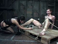 Poor guy gets gagged and tied up by sizzling brunette mistress. Later on he gets tortured with electricity. Then he gets his ass drilled with a dildo. After that Sativa rides Nomad's dick.