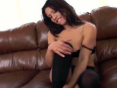 Lovely masturbation scene with a kinky siren Jayna Oso! She gets naked and starts making out with herself. She is so sensual and so sexy!