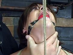 Slim brunette girl gets her tits pinched by her master. Then she gets tied up and suspended. Of course then she gets her pussy toyed hard and deep.