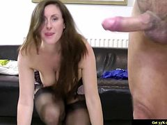 Young euro babe riding old mans dick in threesome and she cant get enough