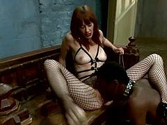 Black stud Bobby Bends is having fun with redhead mistress Maitresse Madeline indoors. Madeline attaches clothes pegs to Bobby's body and decorates his balls with leads and humiliates the dude in many ways.