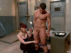 Maitresse Madeline decorates Marcus Ruhl's balls with clothes pegs