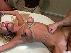 This sexy blondie gets fucked by three dudes in the kitchen. Then tie her up and give her tons of pleasures with their cocks in all of her holes!