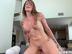 Sexy brown-haired chick Courtney Cummz strips and demonstrates her flawless body to some guy. Then they fuck in cowgirl position and seem to enjoy it much.
