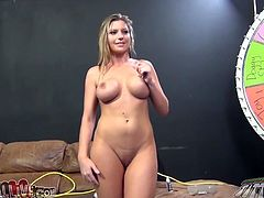 Chubby blonde Gabriella Paltrova strips and shows her big boobs to some guy. Then she gives him a blowjob and welcomes his tongue and fingers in her pink cave.