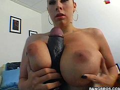 Get a load of Gianna Michaels' massive tits in this hot POV where not only does she sucks on this guy's big black cock but she also titty fucks him as well.