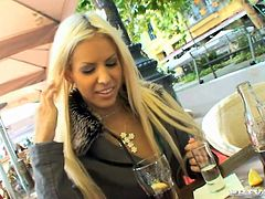 Slutty blonde Boroka Balls is playing dirty games with some guy in the street. She shows him her ass and pleases him with a blowjob and then welcomes his dick in her shaved pussy.