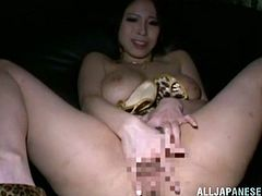 See this solo show by the sexy and big boobed Japanese stunner Minami Ayase who plays with her tits and fingers her pussy.