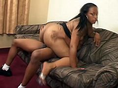 Dirty black whore with huge ass is horny and wants that hard cock in her vagina badly, that stud is awesome in pussy demolition from behind.