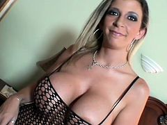 In this video all the girls wear fishnet bodysuits. They pose for the camera showing their big boobs and hot pussies.