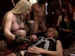 So, here is this BDSM session and Aiden Starr is going to gather her sexy mistresses and starts torturing two slaves. These men will go through hell