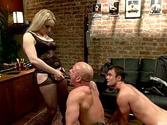 Nasty Aiden Starr dominates three guys and then suck dicks