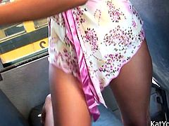 Playful Asian girl with drive you insane with her fantastic ass. She gets naughty all alone in the bus playing with her rack and rubbing her moist shaved muff.