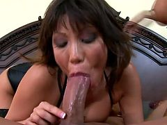 Ava Devine and Kitty Langdon are having fun with some guy indoors. They suck and ride his schlong by turns and then kneel in front of the man and let him cum in their mouths.