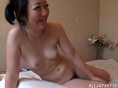 Naughty Japanese chick makes hot solo show in the classroom. She sits down on a desk and fondles the pussy through the swimsuit. Then the guy cums on her face.