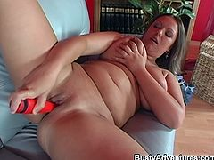 The chubby babe in lingerie with big tits and endless lust is having her wet twat fucked hard in a way that her breasts giggle erotically.