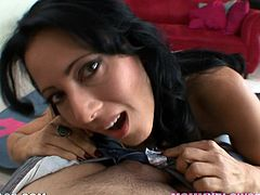 This juicy and luscious brunette angel Zoey Halloway gets naked and takes that huge cock for some nice blowjob! Oh, shit babe is so freaking sexy!