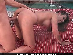 Beautiful busty brunette babe Amy Fisher gets fucked poolside by a lucky pool guy