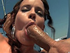 Superb babe takes her dress off and gives hot blowjob to two dudes on a deck. Later on she gets double penetrated and facialed massively.