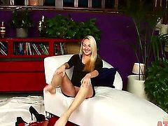 Amateur blonde babe Ashley Stone with pretty face and long legs takes off sexy black dress and reveals pink hairless fish lips in point of view at her first interview.