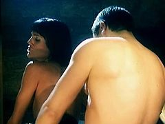 Passionate brunette trollop with skinny ass bends over the pool table. Her throbbing wet clam is stuffed with massive rod from behind. Claudia gets screwed really hard.