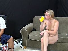 Kinky blonde Jessica Heart gives a nice blowjob to some horny man. Then she spreads her legs wide open and lets the dude to finger her snatch and rub it with a toy.