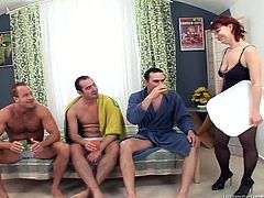 Hefty mom is wearing black nylon stockings fucking in filthy gangbang video. Watch her riding solid rod actively while sucking two other cocks one after another.