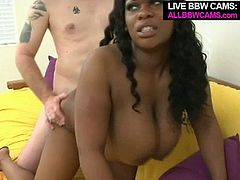 Bawdy ebony whore has got big juicy jugs. She gets her wet clam polished by thirsty white dude. Black harlot gives him awesome blowjob in reward.