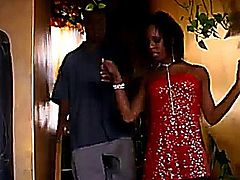 Sexy, skinny black girl Marie Luv fucks like a true champ and Dwayne Cummings gives her a face full of cum as a trophy