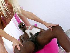 Sean stays relaxed, as the blonde slut Jayda sucks his cock hard. She fills her throat with his dong and then, goes on top, ridding it with her butt. To get ass fucked even deeper, Jayda bends over and he thrust his dick in her. Her tight hole barely takes it! Is she gonna get it cum filled too? Find out!
