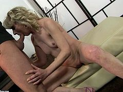 This shameless grannie is a super qualified slut when it comes to pleasing men. She sucks that old dick greedily and then she lets her lover drills her pussy with sex toy.