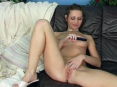 Masturbation and pussy fingering is what makes this horny babe happy and she loves to do that when she is alone at her place on that big sofa.