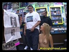 Ruined blond prostitute heads to music store fully naked to renew her CD collection. However she decides to fuck with some hot dudes right in the middle of the store.