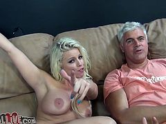 Sizzling blonde Britney Amber is having fun with some dude indoors. They fuck in cowgirl and missionary positions and then Britney pleases the stud with a hot blowjob.