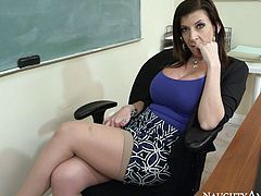 Sextractive brunette teacher with oversized slack tits lures her student to sex. She sits on the wheel chair in front of him oral fucking his perky big dick and tickling her snatch with fingers simultaneously.