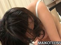 Yuina Kitami is a chubby Japanese teen with huge natural boobs. She gets her hairy cunt toyed and she masturbates with a vibrator too. Then, she gets fucked.