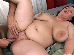 The fat ass whore is ridding her man with pleasure. She loves having cock in her fat pussy just as much as she likes it in the mouth. After fucking in cowgirl she gets a taste of his dick and then lays on her back for a harder pussy drilling. He cums inside her and then plays with her creamed pussy lips!