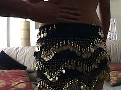 Hot and insatiable Indian chick having juicy tits spiced up with dark nipples is about to suck two poles at the same time. She starts to jerk off their shlongs sitting on a couch.