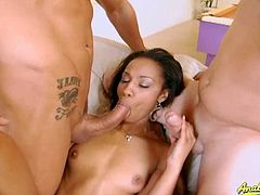 Misty Stone is a professional slut. She has her smooth shaved pussy stuffed by two white and hard cocks.