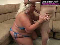 Heavy weight beauty sucks hard dick until he gives her huge tit cumshot