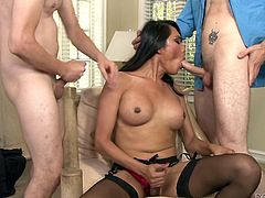 Tranny Jessica has enough love for all these men. She's surrounded by their hard cocks and sucks them, one at a time. While she busy getting dongs in her mouth, one of the dudes rubs her dick. Well now, lets see which one will cum first, and where! Enjoy this hot and naughty foursome!
