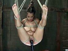 This gorgeous babe with big tits is going to get tortured with pleasure in this lesbian BDSM session with rope bondage.