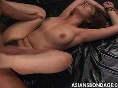 Come and see a tied up Asian brunette as she gets banged deep and hard into a huge orgasm in this wild free porn video. She loves moaning til she cums VERY hard.