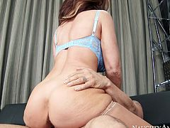 Curvy mature how Deauxma rides Derrick Pierce's young cock