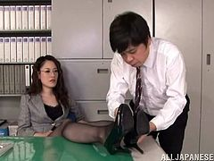 Horny japanese boss babe with pantyhose and sexy ass gives handjob to client in her office and gets licked in pussy by horny asian tough.