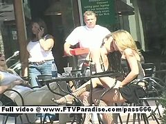 Ashley and Brianna two gorgeous babes walking to a table outside a diner